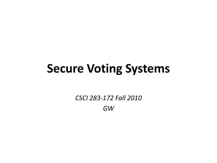 secure voting systems n.
