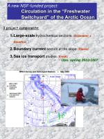 a new nsf funded project circulation in the freshwater switchyard of the arctic ocean