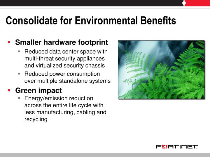 Consolidate for Environmental Benefits