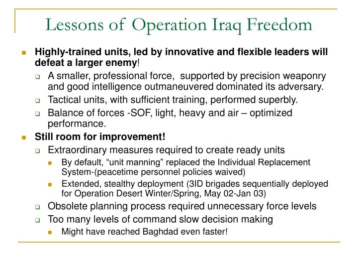 lessons of operation iraq freedom n.