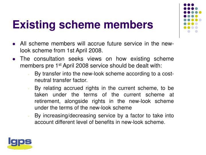 Existing scheme members