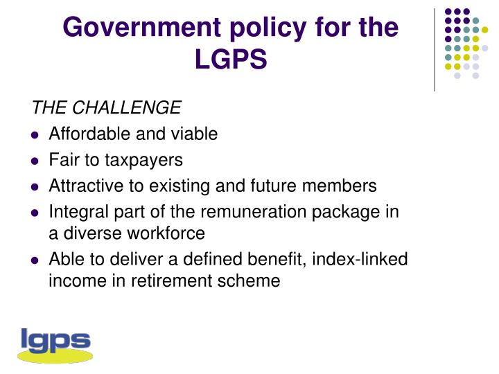 Government policy for the lgps
