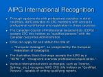 aipg international recognition