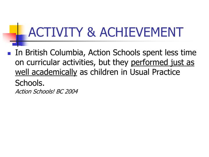 ACTIVITY & ACHIEVEMENT
