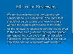 ethics for reviewers