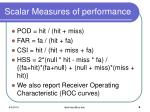 scalar measures of performance