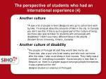 the perspective of students who had an international experience 4