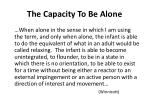 the capacity to be alone1