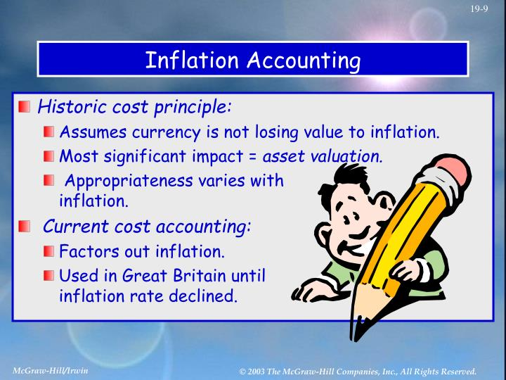methods of inflation accounting The sec now requires inflation-adjusted statements and it permits use of either the current cost accounting method (discussed below) or the constant dollar accounting in the latter case, the adjustments to be made are based on movements in the consumer price index for all urban consumers.