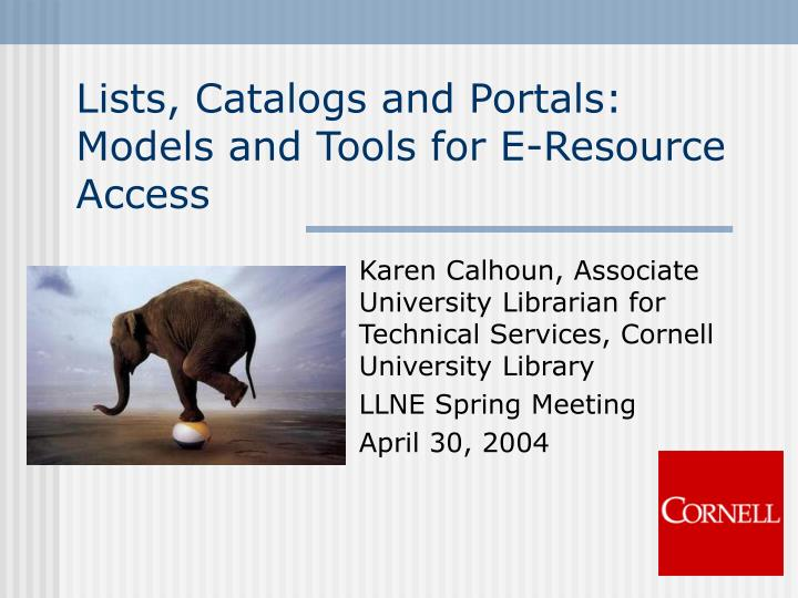lists catalogs and portals models and tools for e resource access n.