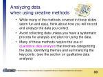 analyzing data when using creative methods