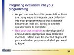integrating evaluation into your programming