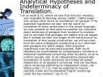 analytical hypotheses and indeterminacy of translation