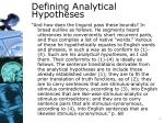 defining analytical hypotheses
