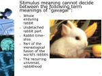 stimulus meaning cannot decide between the following term meanings of gavagai