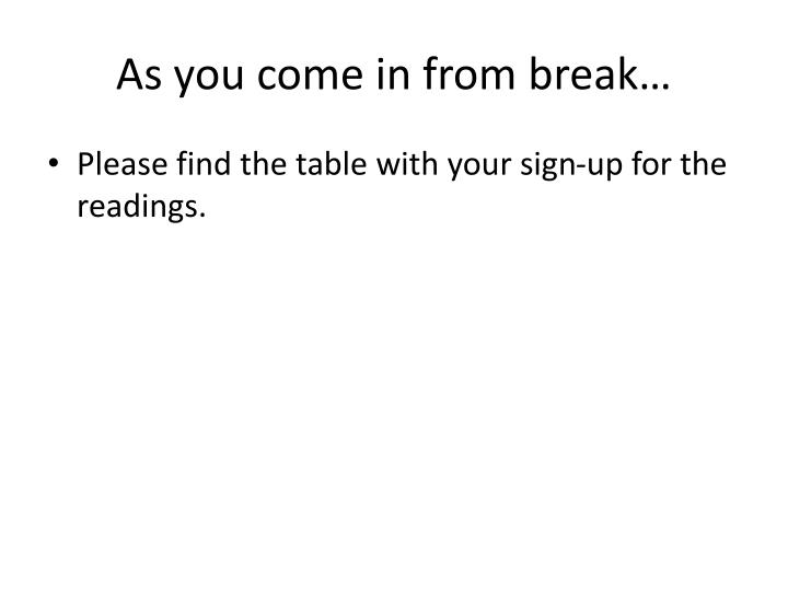 As you come in from break…