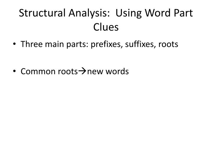 Structural Analysis:  Using Word Part Clues