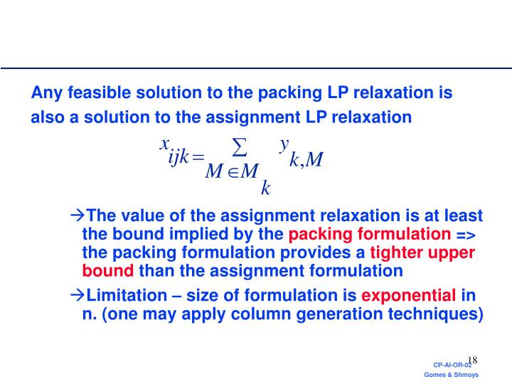 Any feasible solution to the packing LP relaxation is