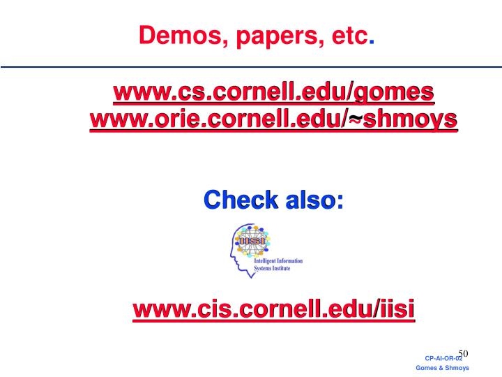 Demos, papers, etc