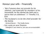 honour your wife financially