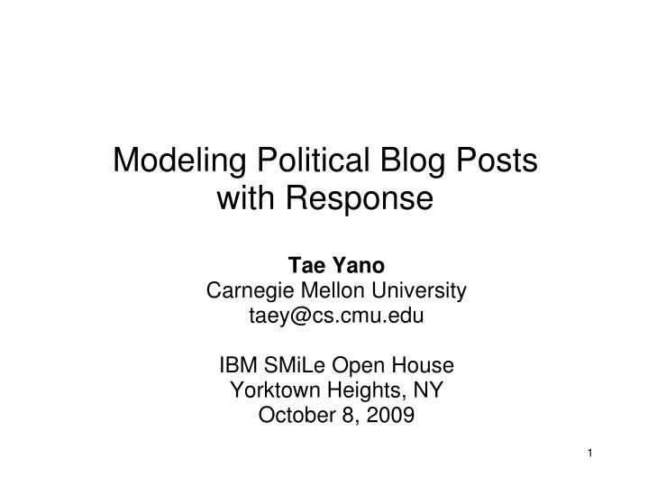 modeling political blog posts with response n.