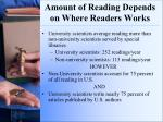 amount of reading depends on where readers works