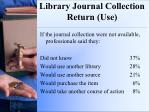 library journal collection return use