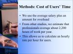 methods cost of users time