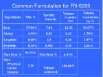 common formulation for fn 0205