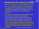 results from us research on cpoe
