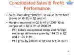 consolidated sales profit performance
