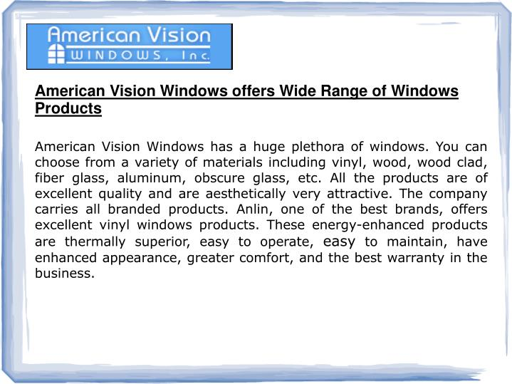 American Vision Windows offers Wide Range of Windows Products