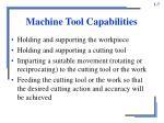 machine tool capabilities