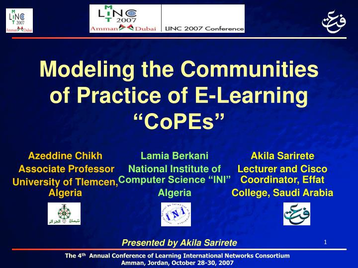 modeling the communities of practice of e learning copes n.