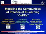 modeling the communities of practice of e learning copes