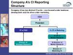 company a s ci reporting structure