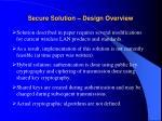 secure solution design overview
