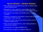 secure solution solution analysis