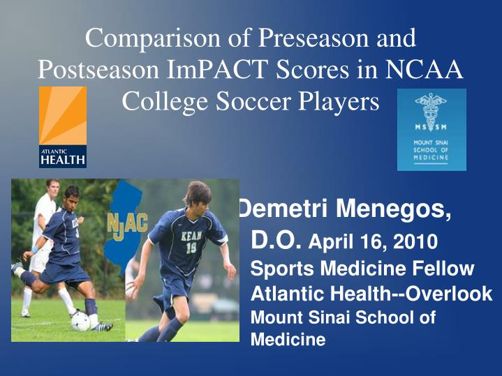 comparison of preseason and postseason impact scores in ncaa college soccer players n.