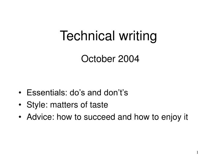 technical writing october 2004 n.