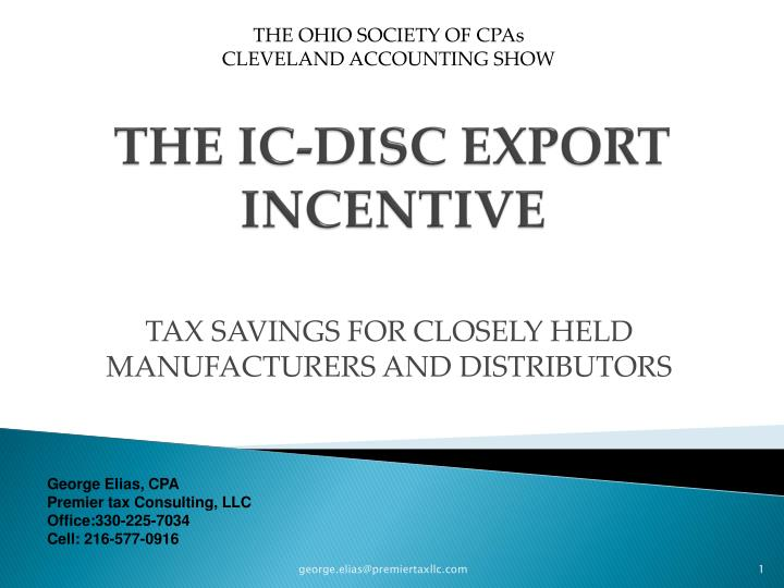 Ppt The Ic Disc Export Incentive Powerpoint Presentation Id998662