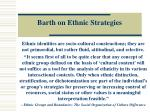 barth on ethnic strategies