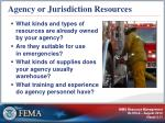 agency or jurisdiction resources