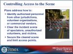 controlling access to the scene