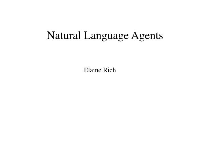 natural language agents n.