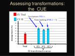 assessing transformations the cue