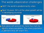 the world urbanization challenges