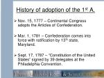 history of adoption of the 1 st a