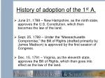 history of adoption of the 1 st a1