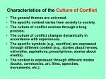 characteristics of the culture of conflict